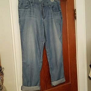 Loft Chambray Boyfriend Jeans